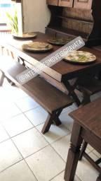 Mesa com banco cristaleira rack sofás