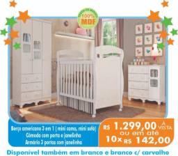 Quarto Completo com berço Americano 3 em 1 ( mini cama e mini sofa) 100% MDF Menor valor