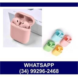 Fone Airdots Bluetooth i12 Color Sem Fio * Fazemos Entregas