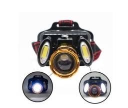 (NOVO) Farol Lanterna De Cabeça Recarregável Profissional Com 3 Leds