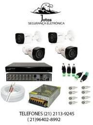 Kit CFTV com dvr de 04 canais + 04 câmeras, com acesso via celular