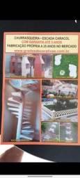 Churrasqueira, grades decorativas, borboletas para calçada em jardins, escada caracol.