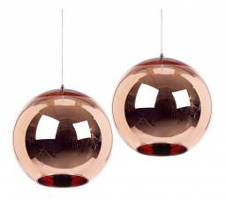 Vendo 3 pendentes em vidro rose gold