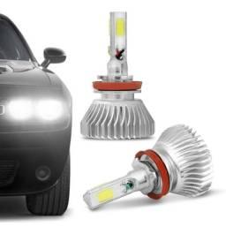 Par Lâmpadas Super LED H4 6000K 4500LM Shocklight Headlight 3D Com Fonte Efeito Xênon
