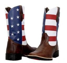 Bota Texana Country Masculina Texas Gold EUA de Couro numerao:37 ao 46