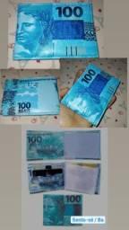 Carteira personalizada Cédula de 100 reais
