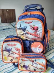 Kit mochila d rodinhas aviões da disney original
