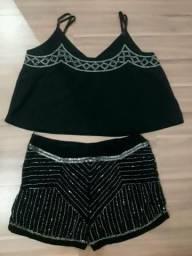 Conjunto short e blusa preto