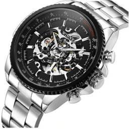 0e29ae43576 Lindo Relógio Automático Winner Prata em Aço Inoxidável à prova D água Novo  e Original