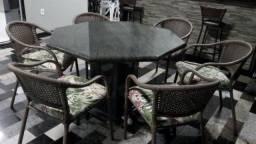 Mesa de granito para ate 8 cadeiras