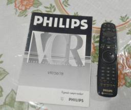Controle remoto e manual do video cassete Philips vr 756/78