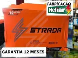 Bateria 50 ou 60 amperes Ah - Strada Heliar com garantia de 12 meses -