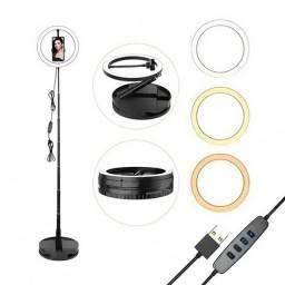 """Iluminador Ring Light 10"""" Retratil c/ Suporte Celular 168cm (G1)"""