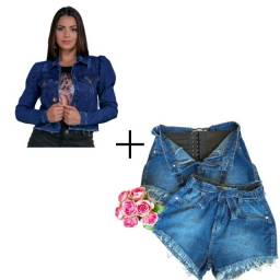 Kit Shorts com cinta modeladora + Jaqueta jeans manga bufante