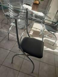 Mesa de vidro 6 cadeiras sem avarias (semi novo)