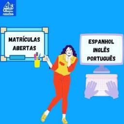 Aulas de espanhol, inglês e português
