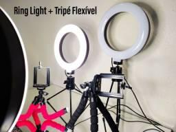 1 Ring Light com suporte + 1 Tripé Flexível para celular
