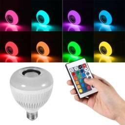Lâmpada Luz Bluetooth Led 12w com Caixinha de Som 2 em 1 Com controle remoto top