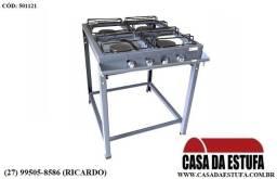 Fogões 40x40 4 Bocas - Luxo - Alta Pressão - Queimador de Ferro Fundido