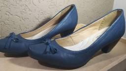 Sapato feminino - salto baixo - azul marinho 38
