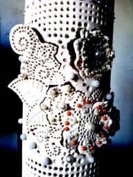 Luminária de piso ou móvel em tubo de pvc flor de liz