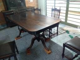 Conjunto mesa madeira maciça + cadeiras jacarandá