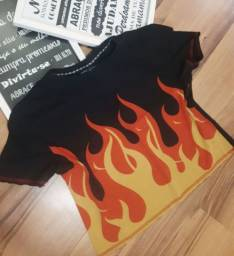 Camisa cropped flame
