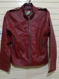 Jaqueta em courino vermelha