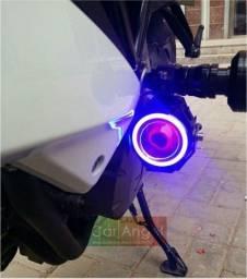 Título do anúncio: Farol de Milha Moto O Par Com Interruptor Universal Angel Eyes Led Auxiliar Neblina
