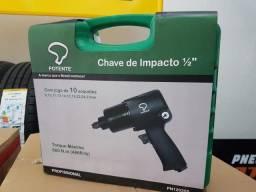 Chave Impacto Pneumatica 1/2 + 10 soquetes Potente Brasil