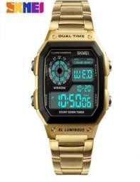 Relógio masculino, Resistente a Água, com Pulseira de Aço Inoxidável - Dourado