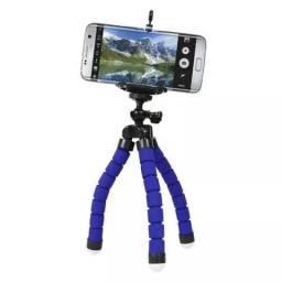 Tripé de mesa com suporte ajustável para celulares e câmeras Azul