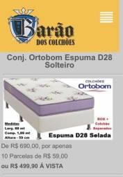 Cama Box + Colchão Ortobom D28 Selado Espuma Solteiro - 88 x 1,88