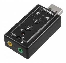 Placa Adaptador De Som Usb 7.1 Canais 3d Adaptador Audio Pc<br><br>