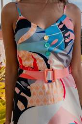 Vestido longo floral (rosa, branco e azul)