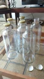 Garrafas de vidro com tampa de 1 litro - R$2 cada