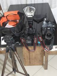 Câmeras Canon 6d + Canon 60d + lente 17 40 tripé  flash e mochila