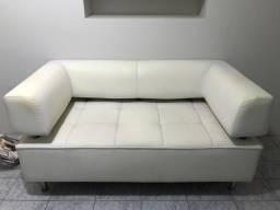Sofá para Escritório Branco Courino Pés Inox