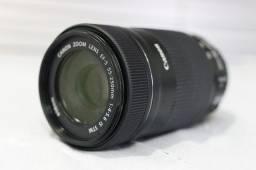 Lente Canon EF-S 55-250mm STM com parasol