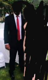 Terno preto  completo (palito,calça,camisa e gravata)