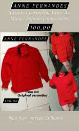 1 Camisa vermelha marca ANNE FERNANDES original Tam GG punho de lastex