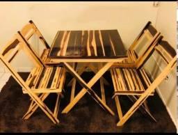 mesa e cadeiras madeira dobravel