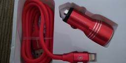 Carregador veicular para celular com cabo USB para iPhone