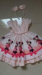 Vestido Minnie com tiara tamanho 1 ano