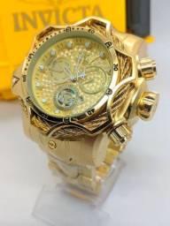 Relógio invicta reserve venon dourado c/caixa premium