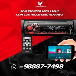 Som Pioneer Mvh-s118ui Autoradio com Controle Usb/rca/mp3