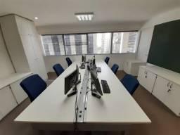Conjunto de mesa escritório, com cadeiras para 6 pessoas