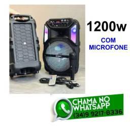 Caixa de Som 1200w Karaokê c/ Microfone QS-4801 * Fazemos entregas