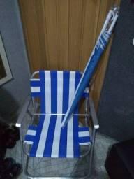 Cadeira de praia + guarda sol ( nunca usados)