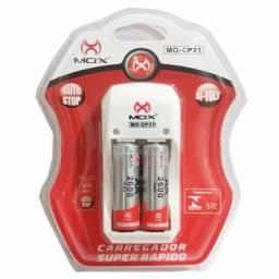 Kit recarregável 2 pilhas 2A + carregador duplo